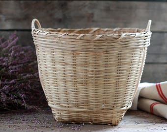 French vintage basket. Dustbin basket. French wicker basket. French woven basket. Fireplace basket. Picking basket. French sewing basket.