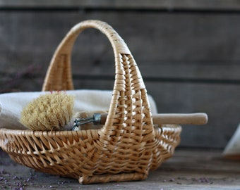 French vintage small basket of the bride. French wicker basket. French wedding basket. Bohemian basket. French sewing basket. French basket.