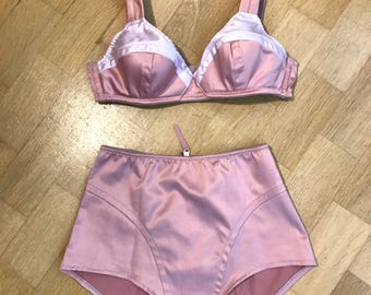 30s 40s style Lingerie Set Bra+Panties rose satin sz 34/36