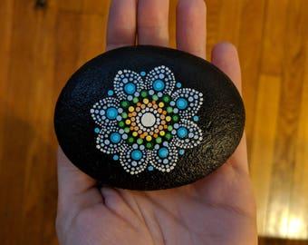 Hand Painted Mandala River Stone   'The Kirby'