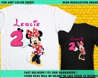 Minnie Mouse / Iron On Transfer / Minnie Birthday Shirt Transfer DIY /  High Resolution / For Any Color T Shirt / 12 Hours Turnaround Time