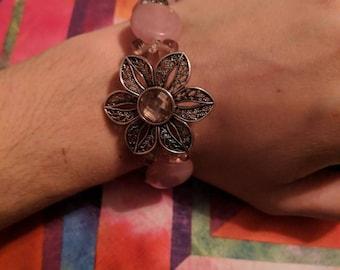 Pink flower&Celtic knot bracelet