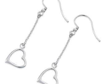 New 925 Sterling Silver Heart Earrings