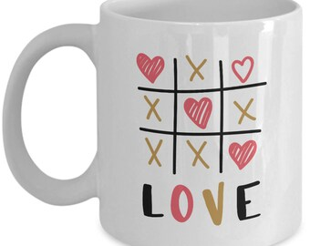 Tic Tac Toe Love - High Quality Cute White Ceramic 11 oz or 15 oz Mug -Love Valentine's Day Mother's Day Birthday Mom Wife Girlfriend Gift