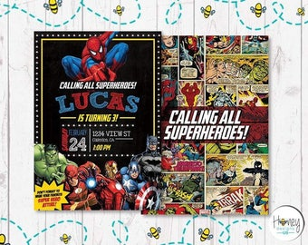 Superheroes, Comics, Spiderman, Hulk, Captain America, Thorn, Ironman,Batman, Digital Invite, party, boy, celebrate, borthday.