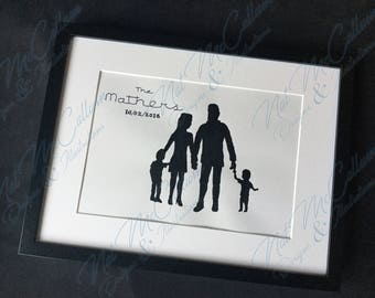 Family Silhouette Portrait -Add text - Bespoke Illustration - Family Drawing
