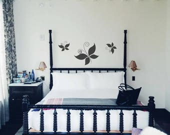 Wall Decal Butterfly On Grey White Background Wallpaper Wall Decor Wall Sticker Wallpaper Room Design