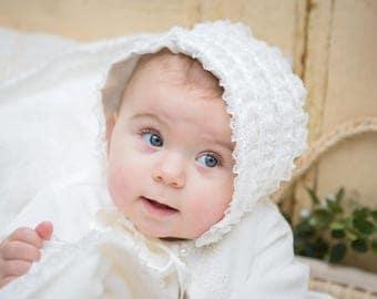 Christening Bonnet, lace Christening Bonnet, Baby Bonnet Ivory, Baby Bonnet white, lace Bonnet,