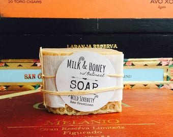 Raw Milk & Honey With Oatmeal Handmade Soap, moisturizing soap, soap for dry skin, oat meal soap, all natural soap
