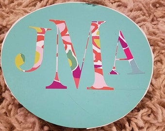 Monogrammed permanent decal