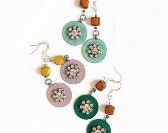 Rhinestone flower and wood earrings