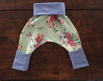 Grow With Me Harem Pants - Mint Flower