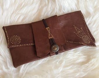 Handmade leather wrap bag/wallet hand dotted
