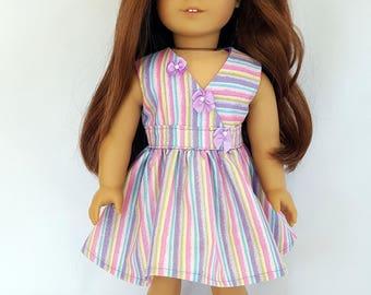 "Pastel stripe dress fits 18"" dolls such as American Girl"
