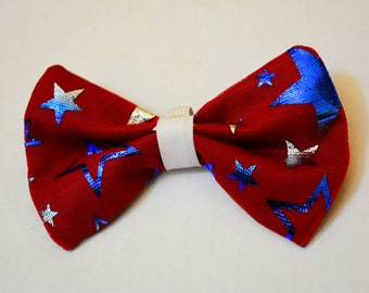 Red white and blue patriotic dog bow