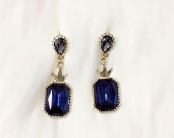 Gold Plated Luxury Sapphire Style Pendants Drop Earrings