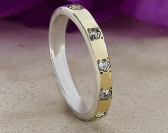 Topaz 9k Yellow Gold 925 Sterling Silver Stackable Two Tone Ring Setting