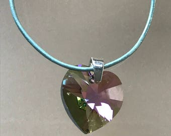 Paradise Shine Swarovski Crystal Heart Necklace on a metallic blue leather cord