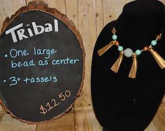 Tribal Necklace in Teal & Gold w/Tassels