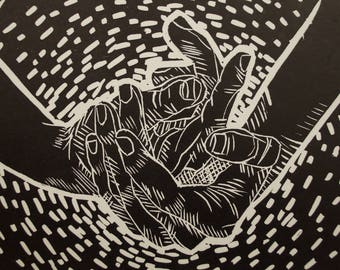 "Linocut Printmaking of Hands ""Hold On"""