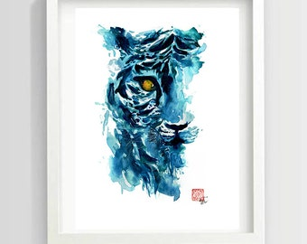 Blue Tiger Watercolor l Archival Quality Print l 8 x 10