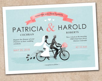 Wedding Invitation, Wedding Invitation with Matching RSVP and Other Information Card, Traditional Wedding Inv, Floral Wedding Invitation