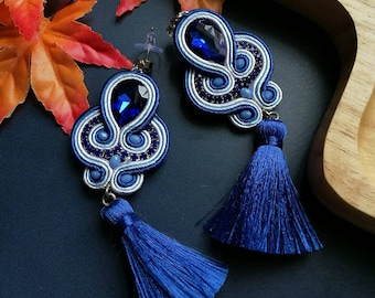 Elegant Blue Crystal Soutache Earrings Statement Earrings Ethnic Boho Chic White and Blue Tassel Earrings