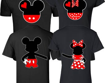 Mickey And Minnie Head Valentine's Front & Back Design Funny Cute Couple Customized matching T-Shirts