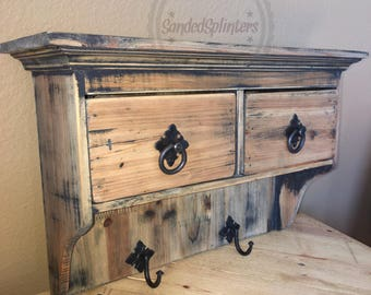 wall shelf with drawers and hooks
