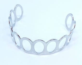 Bracelet cuff bangle - ref941 - steel - 18 GR - geometric pattern