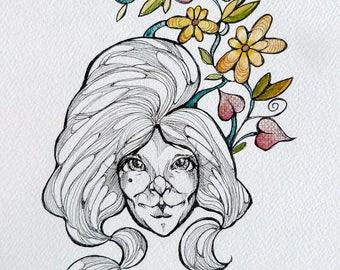 Original watercolors and black ink painting/drawing by Renata Lombard