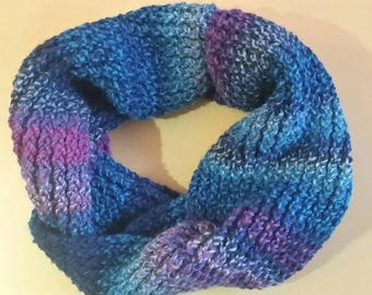 Blue purple twisted cowl scarf
