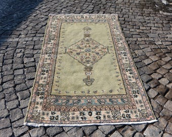 Pastel Color Oushak Rug Free Shipping 3.7 x 7.3 ft. Handknotted Turkish Rug Nomadic Rug Tribal Rug Bohemian Area Rug Wool Rug MB42