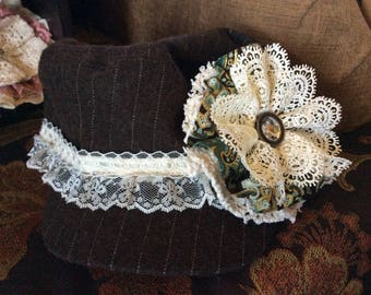 Cabbie hat, #newsboycap, #upcycled, #upcycledfabricflower, #upcycledflower, #shabbychic, #accessories, #handmade,