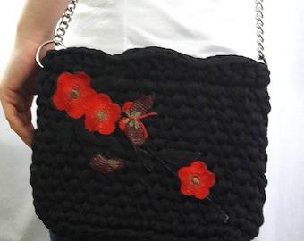 Red Flower Bag Black Handbag Crochet bag Bags Crochet Handbag Handmade Crochet Shoulder bag Black Bag Stylish