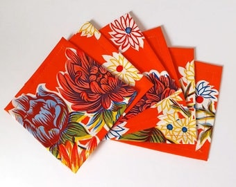 Red Floral Mexican Oilcloth Coasters - Set of 6