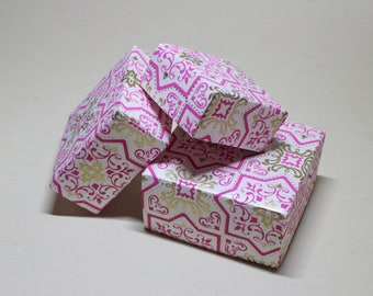 Set of 3 origami boxes made from hand stamped Indian paper - Gift boxes - Box set - Cute boxes - All natural
