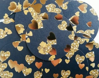 Large black and gold heart confetti, black and gold bridal shower confetti, black and gold wedding confetti, gold foil heart confetti, foil