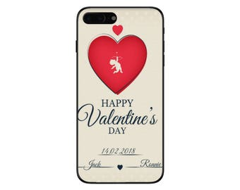 Personalised Valentines Day Name & Anniversary Date Phone Case for Apple Iphone 5 6 6s 7 8 10