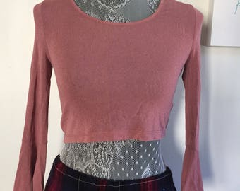 Blush Crop Top w bell sleeves