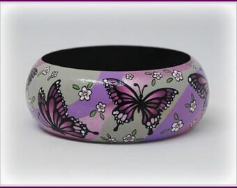 Hand painted BUTTERFLIES bracelet-bangle
