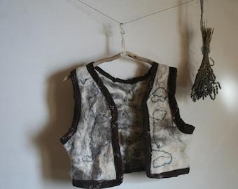 Felted Vest, wool handfelted, Natural wool, Viking , Rustic ,Folk, Elven