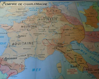 Map wall decor school history Charlemagne France