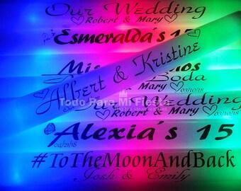 Personal Flashing Glow Stick Personalized Wedding Party Supply Glow In The Dark Sticks Baton Wand Wedding Favors Personalizados 15