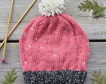 Women's Knitted Spot Patterned Hat in Pink & Grey