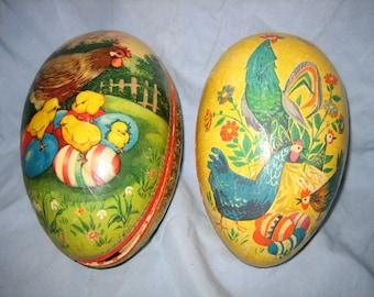 Pair of Vintage Paper Mache Easter Eggs