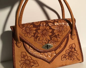 Vintage 1950's Hand Tooled Leather Purse