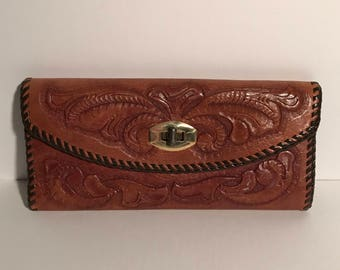 Vintage 70's Hand Tooled Leather Wallet / Clutch