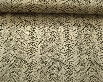 Brocade fabric patterned L12610 in silver grey-black-gold