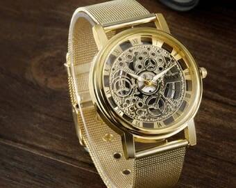 SOXY Brand Golden Luxury Hollow Steel Watches Men Retro Relojes Hombre Quartz Wrist watch